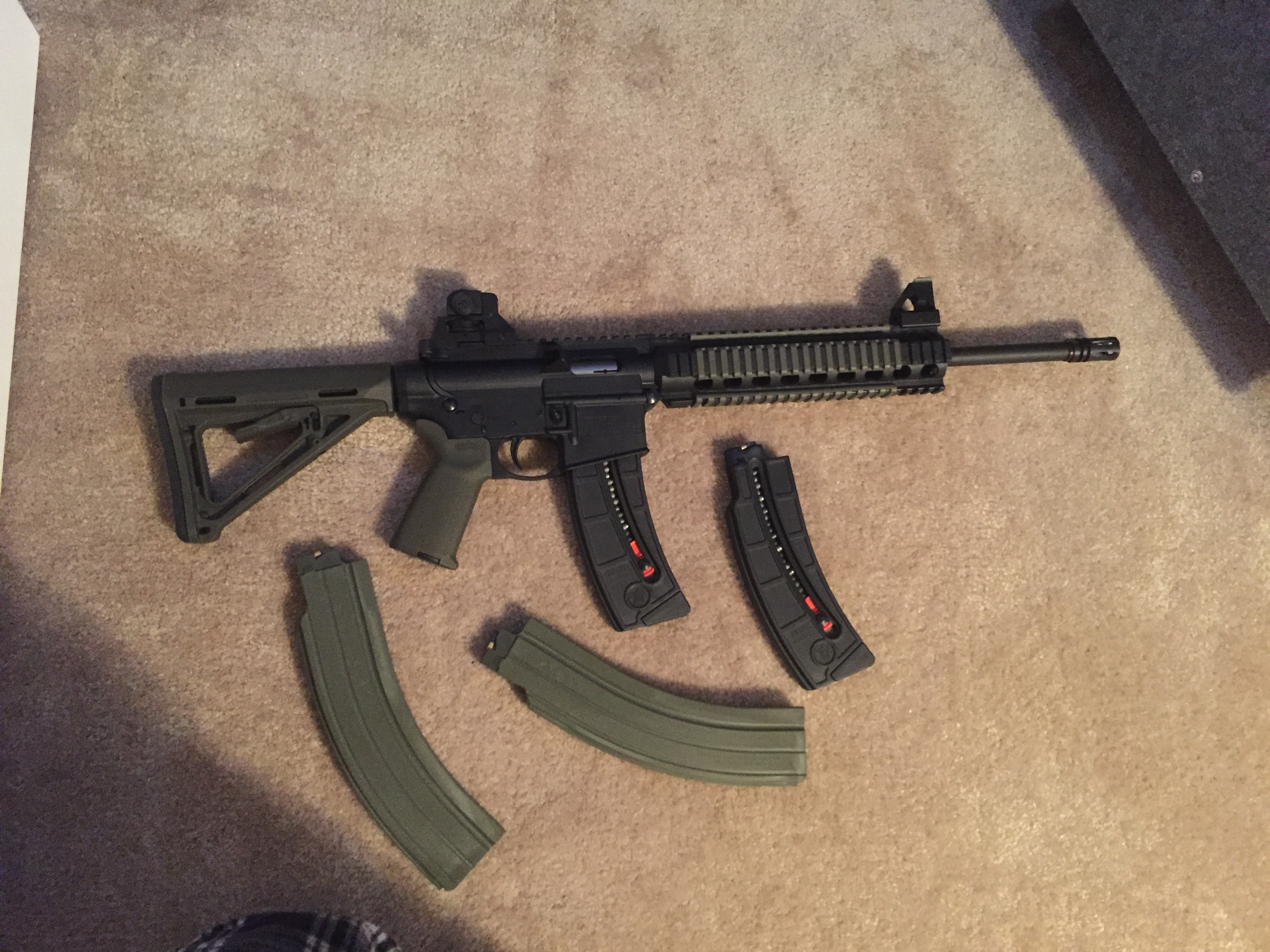 Sold WTS S&W MP15 22 w 4 mags and OD green furniture
